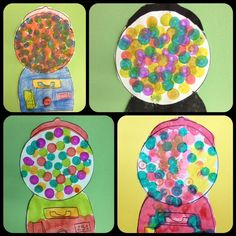 Gumball dot painting art lesson - Special Ed - focus on fine motor skills - artist focus: Wayne Thiebaud - Pop Art