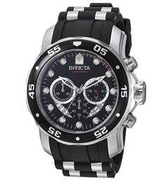Invicta Men's 6981 Pro Diver Analog Swiss Chronograph Black Polyurethane Watch – Watches for Boys Cool Watches, Watches For Men, Wrist Watches, Latest Watches, Cheap Watches, Women's Watches, Festina, Breitling, Bulova