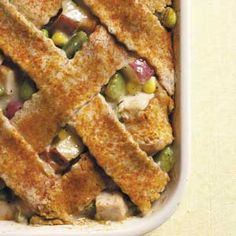 Lattice-Topped Turkey Casserole Recipe from Taste of Home - Hearty and full-flavored, this meal-in-one never lets on that it's low fat and full of fiber. -- Submitted by Agnes Ward of  Stratford, Ontario.