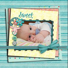 The ribbon across the page is a nice touch.  Course the baby is beyond adorable.