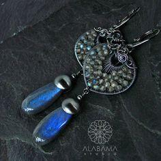 Blue flames  amazing sterling silver labradorite earrings