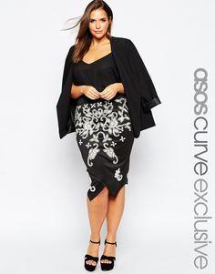 ASOS CURVE Embellished Wrap Pencil Skirt