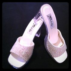 """White beaded formal shoes with clear bottoms sz 6 White open toe formal shoes with iridescent   sequins and beaded detail. Clear bottom and and 3.5"""" heel. Brand: Touch Ups. Size 6. Worn once. Touch ups Shoes Heels"""