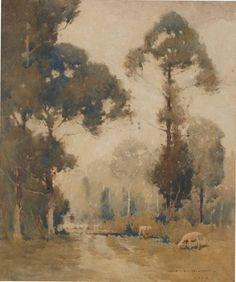 J Hilder (Австралия 23 июля 1881-апрель 1916)  Название Пейзаж с овцами Год 1912 Медиа категории Акварель