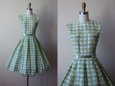50s Dress - Vintage 1950s Dress - Green Houndstooth Print Cotton Voile Full…