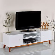 Retro TV Cabinet Vintage White Media Storage Unit Wooden Stand Table Cupboard for sale online Modern Cabinets, Tv Cabinets, Media Storage Unit, Cupboards For Sale, Living Room Furniture, Home Furniture, Wood Buffet, Retro Room, Mirrored Furniture