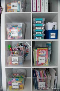 A budget friendly solution for storing and organizing your kids craft supplies when they grow beyond crayons and coloring books.