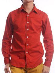 Wide Lapel Elmo-Red Dress Shirt| $19