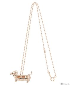 Hotdog Dog Necklace (Pink Gold)