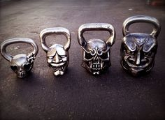 Kettle bells! Oh I WANT these for me and my husband! I love how the 5lb is girl skull!