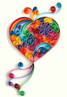 Rainbow Quilled Heart