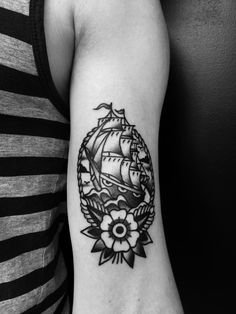 traditional little ship #traditional#tattoo#blackandgrey