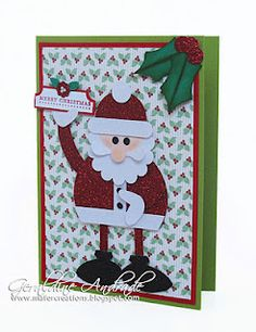 """Stampin' Up!  Punch Art  Geraldine Andrade  Santa  PUNCHES USED TO MAKE SANTA:   *Hat: 1-1/4"""" Circle 1/2"""" Circle and Word Window  Face: 1-1/4"""" Circle   *Eyes: Cupcake Builder  - *Beard: 1-3/4"""" Scallop Circle and 1-1/4"""" Circle   *Moustache: Curly Label  Nose Itty Bitty Shapes Punch Pack    *Body: 2-1/2"""" Circle  *Arms: Large Oval   *Shoes: Ornament  and Large Oval   *Buttons: Cupcake Builder"""