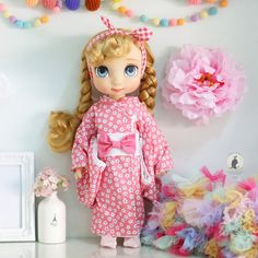 Pink kimono for Disney Animator doll. por RabbitinthemoonThai
