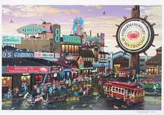 """""""Fisherman's Wharf"""" realistic artwork by Alexander Chen - Park West Gallery"""