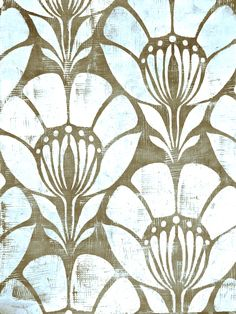 If you cut a comb pattern into a squeegee and run it through some paint you'll get a basket weave texture, which you can see subtly in this finish featuring Wallovers Flower Power design! Basket Weaving, Flower Power, Stencils, It Is Finished, Shapes, Texture, Create, Wallpaper, Flowers