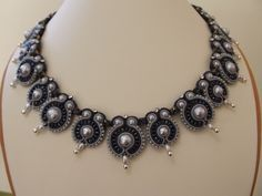 Evening Jewelry.  Soutache Jewelry.  Dangle Earrings and Necklace. $180.00, via Etsy.