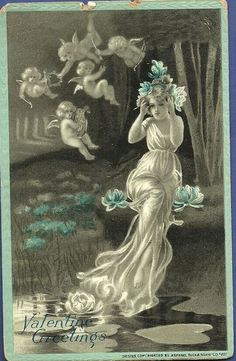 nymph in white flowing dress has both hands at brow, five cherubs to her left float in air, water lilies around, blue borders