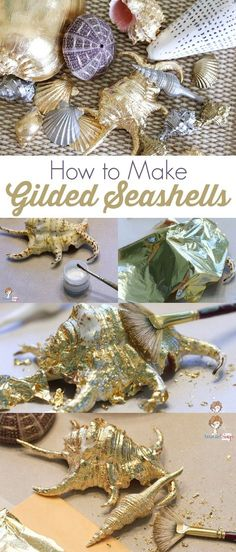 Easy Seashell Craft: How to Make Gilded Seashells with Gold Leaf Paint and Gold Leaf Sheets by @ajastro