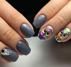 Today I'm evolution before you forty owl nail art styles, ideas, trends & stickers of I actually have seen young ladies carrying owl pendant, owl rings and owl bracelets, they appear thus cute and lovely that one appears like touching them if area unit Owl Nail Art, Owl Nails, Animal Nail Art, Owl Nail Designs, Short Nail Designs, Elegant Nails, Stylish Nails, Vintage Nails, Beautiful Nail Designs