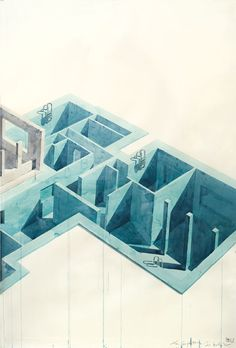 Los Carpinteros, 'Casa Con Piscina', (Part 1) 2005. Watercolour and pencil on paper, 200 x 420 x 7 cm.