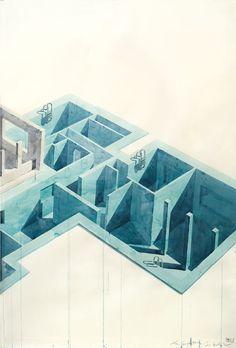 Los Carpinteros, 'Casa Con Piscina', (Part 1) 2005. Watercolour and pencil on paper, 200 x 420 x 7cm.
