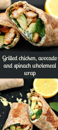 Grilled Chicken, Avocado and Spinach Wholemeal Wrap Gegrilltes Hähnchen, Avocado und Spinat Vollkorn Wrap Chicken Avocado Wrap, Grilled Chicken Wraps, Chicken Wrap Recipes, Chicken Meals, Keto Chicken, Fried Chicken, Spinach Recipes, Avocado Recipes, Healthy Recipes