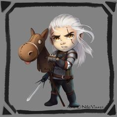 The Famous Geralt of Rivia with his loyal companion…Roach Geralt of Rivia the White Wolf Witcher 3 Art, The Witcher Geralt, The Witcher Books, Witcher 3 Characters, Witcher Wallpaper, Chibi, Yennefer Of Vengerberg, Image Fun, Wild Hunt