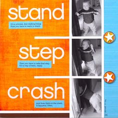 Baby Milestone Pages: Standing Baby Page - photos in sequence- film strip effect Baby Scrapbook Pages, Scrapbook Page Layouts, Baby Record Book, Baby Records, Multi Photo, Film Strip, Recorded Books, Baby Milestones, Toddler Preschool
