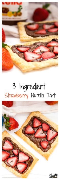 3 Ingredient Strawberry Nutella Tart made using store bought Puff Pastry!