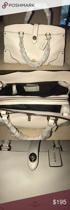 "Women's Authentic Coach Handbag Purse Cream Color Brand new cream Coach purse. Comes with straps for crossbody. depth : 5.75"" length: 11.75"" height 9.25"" handles: 4"" long strap:  21.5"" The inner lining is a dark brown. There's 3 separate compartments; plenty of space for all your goodies! Let me know if you have any further questions and I'll be happy to answer them! Coach Bags Shoulder Bags"