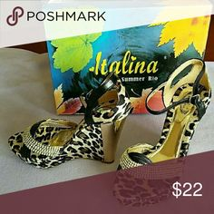 Rhinestone Wedge Sandals Metallic Gold/Leopard/Rhinestone Embellished Wedge Sandal. Brand New w/box Shoes Sandals