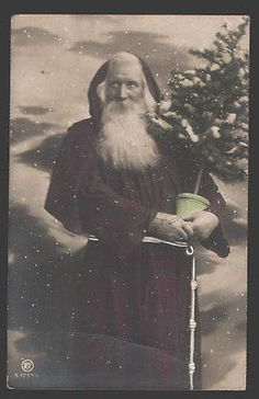 116203 Santa Claus St Nicholas x mas Tree Vintage Photo Tinted | eBay