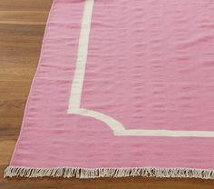 Dhurrie Border Rug Pink Rugroom Spreppy