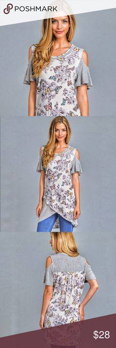 New ArrivalGray open shoulder top Gray short sleeve butterfly floral with open shoulder. Asymmetrical high low top tapers at the waist then separates into solid gray and floral pattern. Made in the USA  95%rayon 5%spandex                   Sizes S M L XL Angelique's Atelier Tops