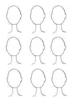 Gemakkelijk te printen portret sjabloon voor bij les 29 van de serie Tekenen voor mensen die niet durven tekenen (#Tvmdndt 29:  Teken een reeks portretten met behulp van dit sjabloon.)