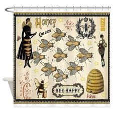 Bees Shower Curtain For Bee Honeycomb Fabric Images Curtains