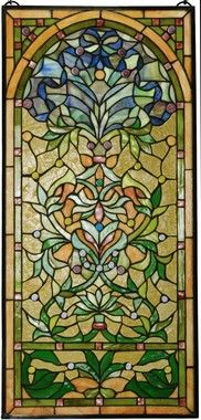 Golden Sidelight Ribbon Bouquet Stained Glass Window by C H Valhalla