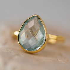 Aquamarine ring - March Birthstone Ring - Gemstone Ring - Stacking Ring - Gold Ring - Tear Drop Ring