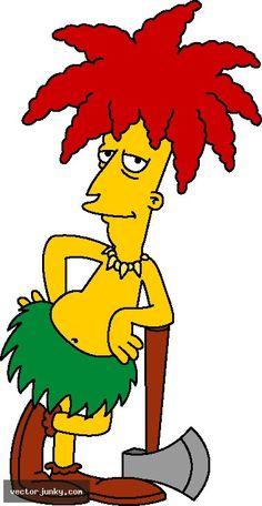 It's Sideshow Bob, the villain who always tries to kill Bart Simpson...