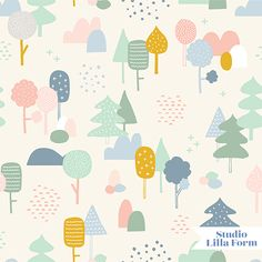 Woods Summer by Cathy Nordström Motifs Textiles, Textile Patterns, Kids Patterns, Pretty Patterns, Motif Floral, Kids Prints, Pattern Illustration, Graphic Patterns, Illustrations And Posters