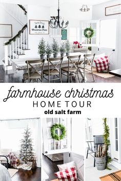 Farmhouse Christmas Home Your | Old Salt Farm #farmhousechristmas #christmasfarmhouse #whitefarmhouse #christmasfarmhousedecor #farmhousechristmasdecor #fixerupperstyle #cozychristmas #farmhousestyle #christmasdecor #christmasporch #farmhouseporch #simplefarmhousestyle #holidaydecor #christmasdecorating #rusticchristmas #rusticchristmasdecor #modernfarmhousechristmas