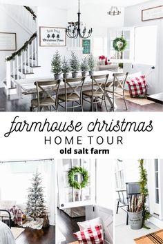 Farmhouse Christmas Home Your | Old Salt Farm #farmhousechristmas #christmasfarmhouse #whitefarmhouse #christmasfarmhousedecor #farmhousechristmasdecor #fixerupperstyle #cozychristmas #farmhousestyle #christmasdecor #christmasporch #farmhouseporch #simplefarmhousestyle #holidaydecor #christmasdecorating #rusticchristmas #rusticchristmasdecor #modernfarmhousechristmas