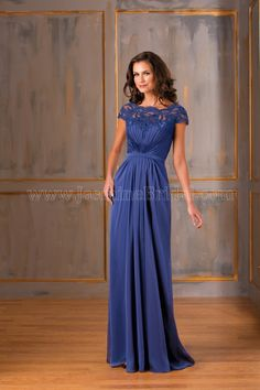 Jasmine Bridal Mother of the Bride/Groom Dress Jade Style J175006 in Indigo; Bold Blue/Purple. Look distinguished in this dress for any special occasion. This Tiffany chiffon dress has a classic V neckline and A-line skirt, with beautiful lace details on the bodice.