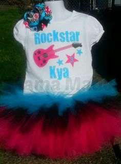 Fuchsia, Black and Turquoise Rockstar Birthday  Tutu Outfit with Shirt  and  bow   12 mo 18 mo 24 mo 2t 3t 4t 5t 6 8 10 12