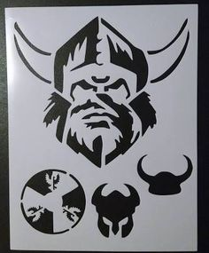 Vikings Viking Head Helmet Horns Shield X Stencil Fast Free Viking Head, Viking Helmet, Disney Alphabet, Minnesota Vikings Football, Custom Stencils, Honeycomb Pattern, Viking Tattoos, Handmade Design, Baby Sewing