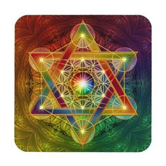 [XI Star of David or XIX?] Rainbow Metatron's Cube Flower of Life Coaster - flower gifts floral flowers diy Mandala Art, Sacred Geometry Art, Sacred Art, Sri Yantra, Rainbow Flowers, Star Of David, Flower Of Life, Visionary Art, Art Pages