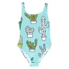 BATOKO Womens Cactus Print Green Swimsuit