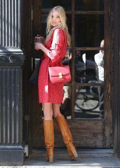 Elsa Hosk, red dress, brown boots, Celine box bag