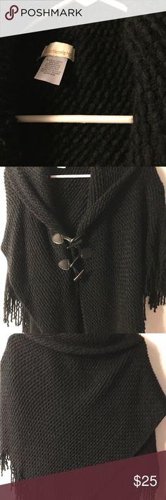 Black Women's Shaw Collection Eighteen Collection Eighteen Women's Black Shawl Sweaters Shrugs & Ponchos
